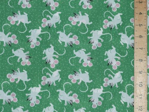 Printed Polycotton - Mice (Green)