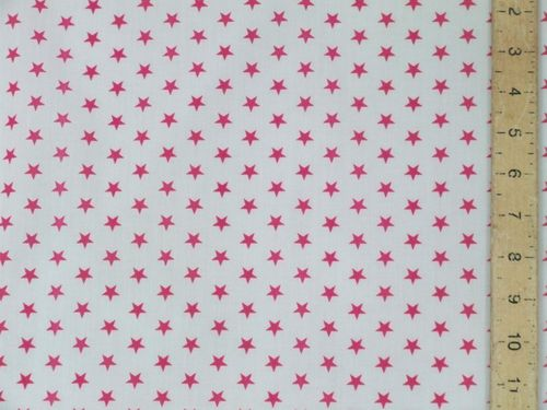 Printed Polycotton - White with Cerise Stars