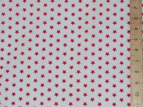 Printed Polycotton - White with Red Stars
