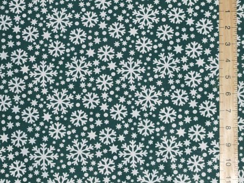 Xmas Snow Flake Polycotton Fabric - Green