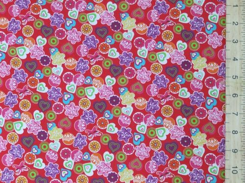 Shapes - Xmas Print Polycotton Fabric - Red