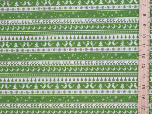 Xmas Print Polycotton Fabric - Lime