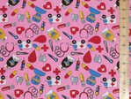 Doctors and Nurses Polycotton Fabric - Pink