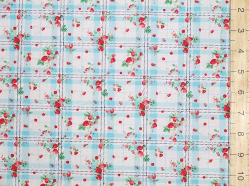 Check & Strawberry Polycotton