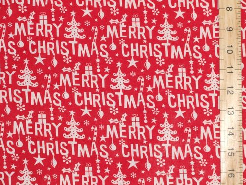 Merry Christmas Printed Polycotton Fabric (Red)