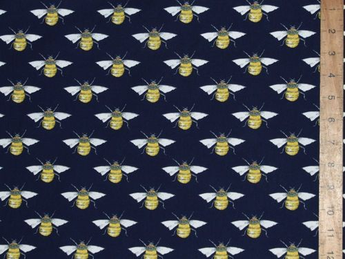 Printed Pure Cotton Bees / Wasps - Navy