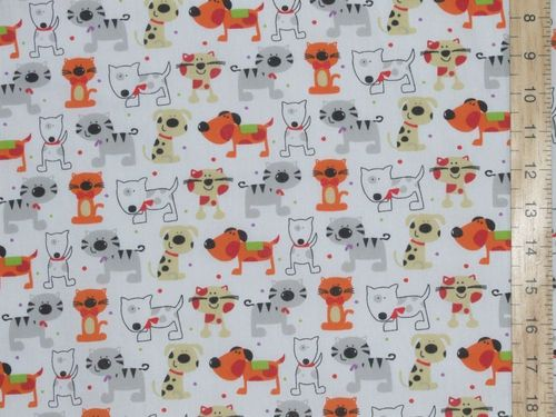 Printed Polycottons - Cats and Dogs (White)