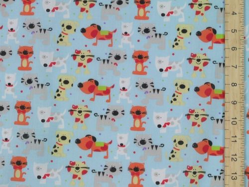 Printed Polycottons - Cats and Dogs (Sky Blue)