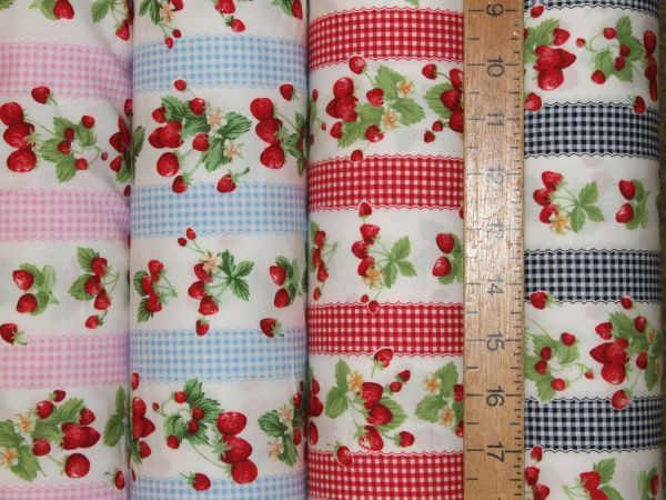Strawberries & Gingham Pure Cotton
