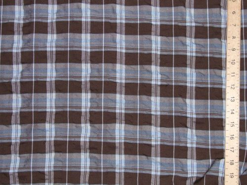 "CLEARANCE: Polycotton Seersucker Check Fabric 60"" wide - SAVE 50%"