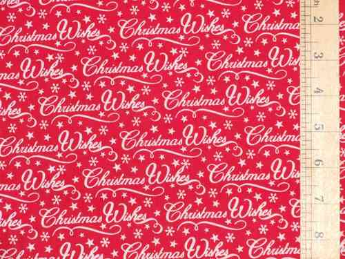 Christmas Wishes Polycotton Fabric (Red)