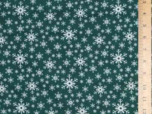 Snow Flake Printed Polycotton Fabric (Green)