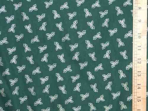 Small Holly Leaf Printed Xmas Pure Cotton - Green
