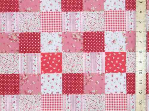 Patchwork Polycotton Fabric (p/c Red)