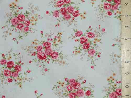 Printed Pure Cotton Fabric (Rose on Ivory)