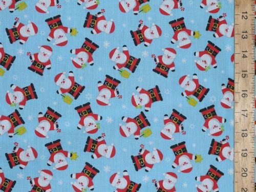 Santa Xmas Print Polycotton Fabric (Blue)