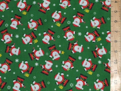 Santa Xmas Print Polycotton Fabric (Green)