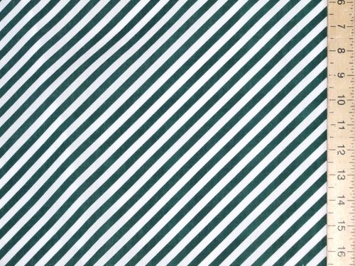 Green Diagonal Stripe Polycotton Fabric