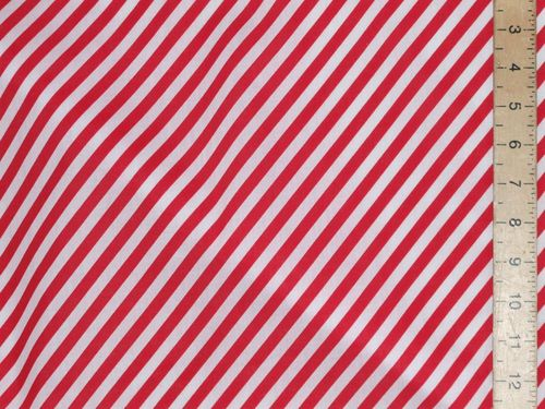 Red Diagonal Stripe Polycotton Fabric