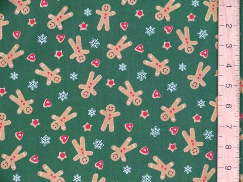 Gingerbread Xmas Print Polycotton Fabric (Green)