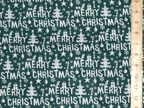 Merry Christmas Printed Polycotton Fabric (Green)