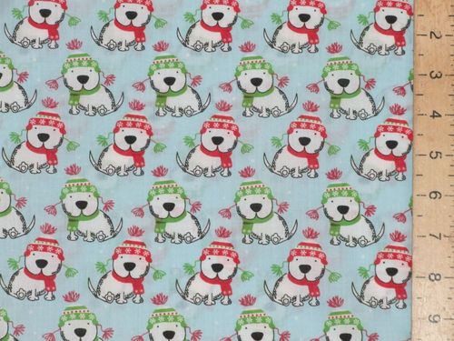 Xmas Puppies Polycotton Fabric (Blue)