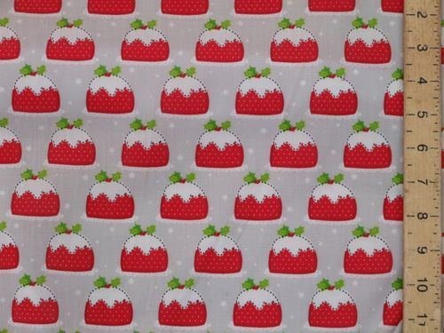 Xmas Pudding Polycotton Fabric (Grey)