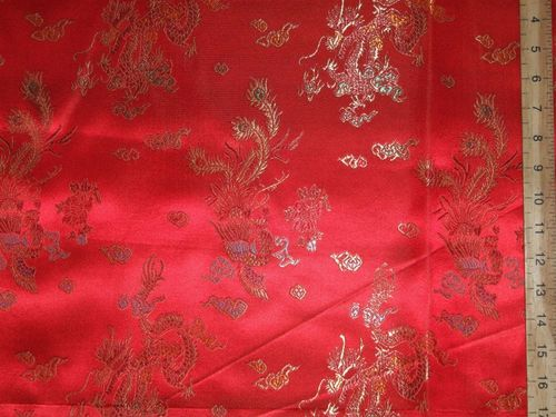 Rich Brocade Fabric - Dragon Design (Red)