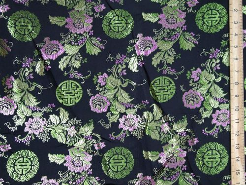 Rich Brocade Fabric - Oriental Design 2 (Black)