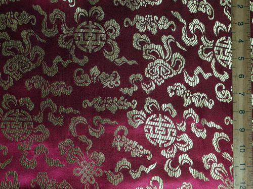 Rich Brocade Fabric - Oriental Design 2 (Burgundy)