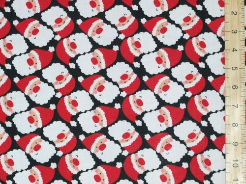 Santa Faces Xmas Printed Polycotton Fabric