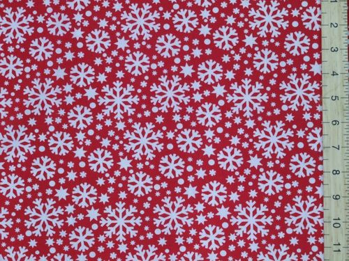 Xmas Snowflake Polycotton Fabric - Red