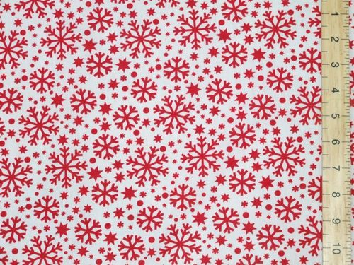 Xmas Snowflake Polycotton Fabric - White/Red