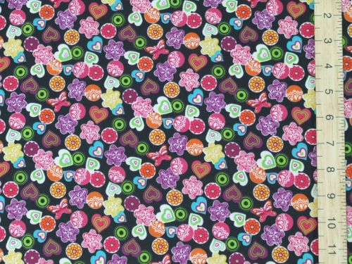 Shapes - Xmas Print Polycotton Fabric - Black