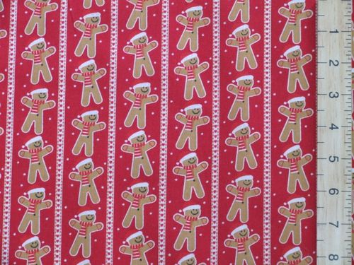 Gingerbread & Stripe Xmas Print Polycotton Fabric - Red