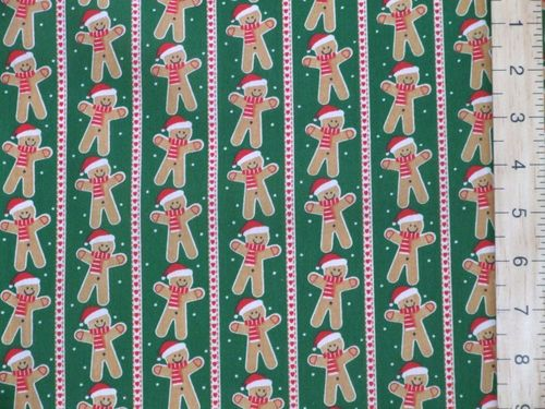 Gingerbread & Stripe Xmas Print Polycotton Fabric - Green