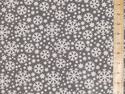 Xmas Snowflake Polycotton Fabric - Grey