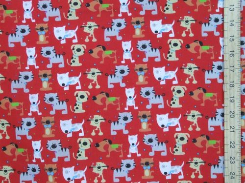 Printed Polycottons - Cats and Dogs (Red)