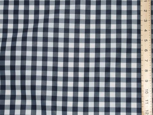 "CLEARANCE: Polyester Check Navy 54"" wide - SAVE 50%"
