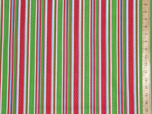Xmas Stripes Printed Polycotton Fabric