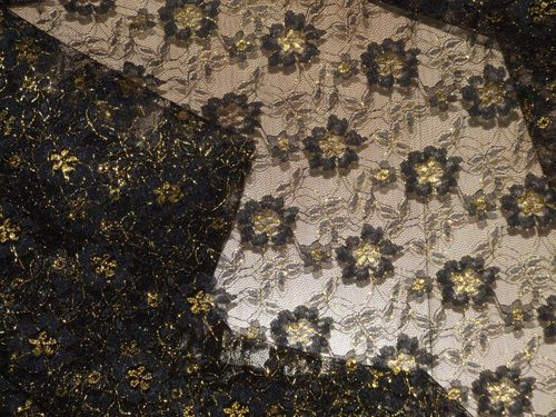 Black & Gold Lace Fabric