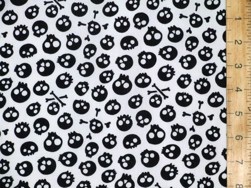 Halloween Prints Polycotton - Aliens (Black on White)