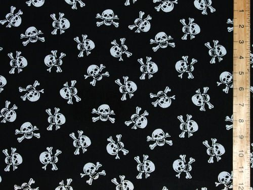 Halloween Prints Polycotton - Skull and Bones (White on Black)