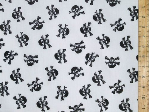 Halloween Prints Polycotton - Skull and Bones (Black on White)