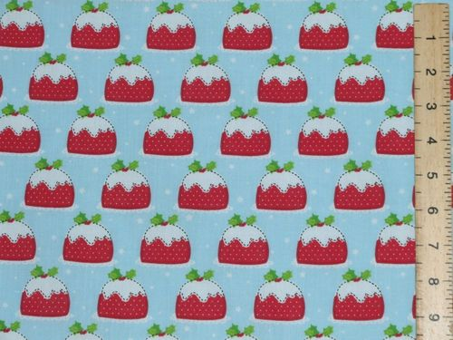 Xmas Pudding Polycotton Fabric (Sky blue)