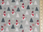 Xmas Snowman Polycotton Fabric (Grey)