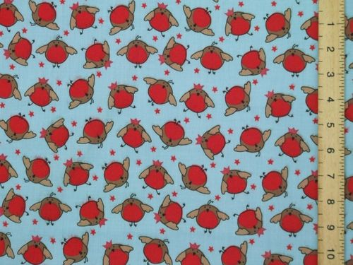 Xmas Robins Polycotton Fabric (Sky blue)