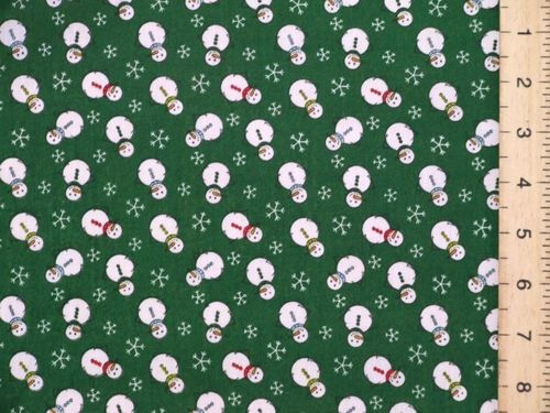 Xmas Snowman Polycotton Fabric (Green)