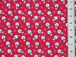 Xmas Snowman Polycotton Fabric (Red)