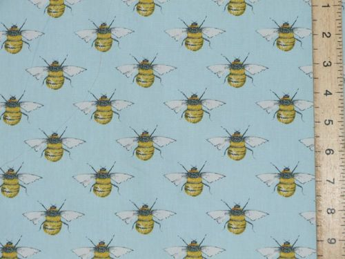 Printed Pure Cotton Bees / Wasps - Sky